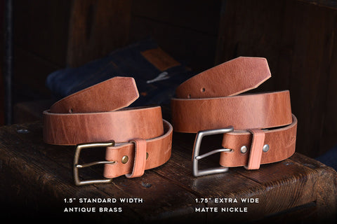 Mountain Belt, Thick Leather Solid Brass Hardware Lifetime Heritage Rugged Belt Handmade Craft and Lore