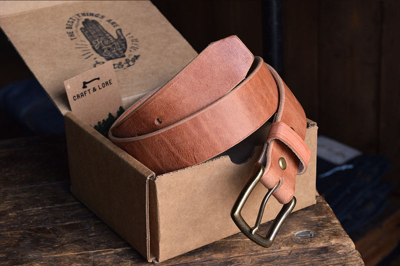 Mountain Belt, Thick Leather Lifetime Heritage Rugged Belt Handmade Craft and Lore