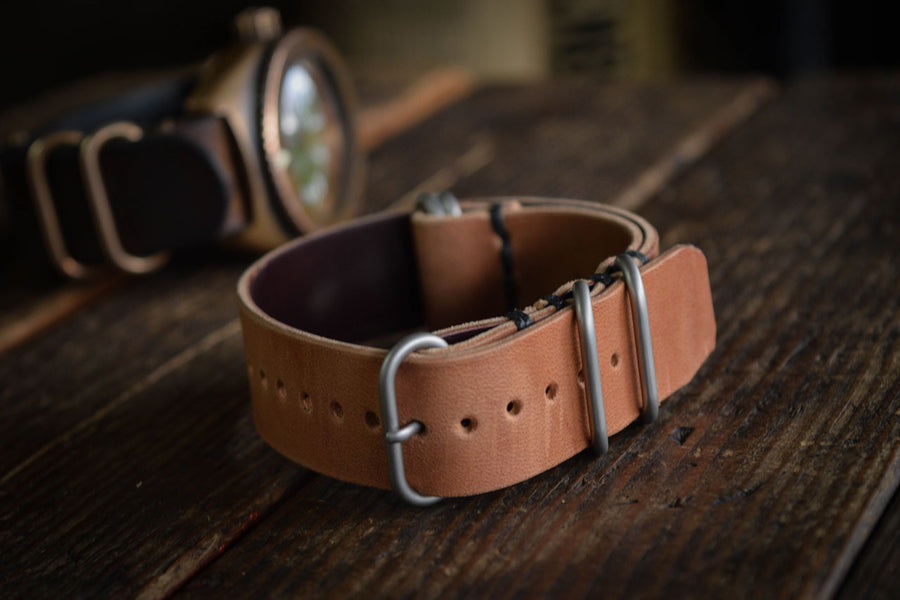 Horween Shell Cordovan Leather NATO Watch Strap Handmade thick quality durable