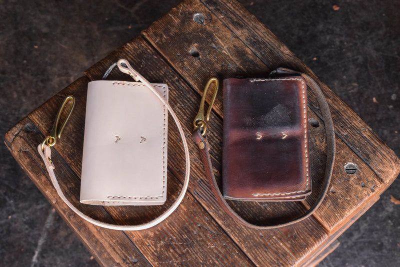 Handmade Leather Operator Wallet in natural veg tan with patina and lanyard chain