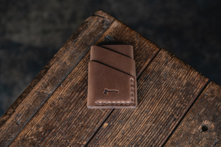 Port Wallet, Horween Chromexcel Natural hand stitched with brown  thread