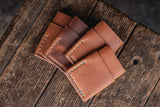 Port Wallet, Horween Chromexcel Natural Leather Minimal Card Wallet Handmade