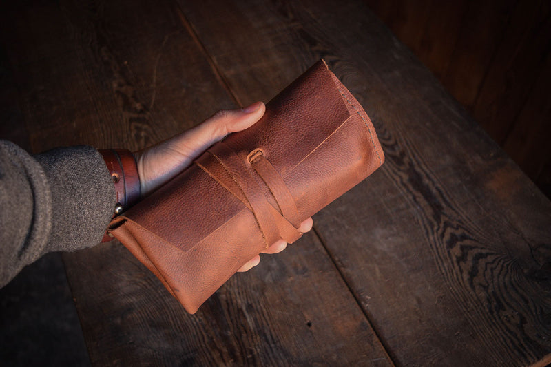 Rustic Leather Pipe Roll