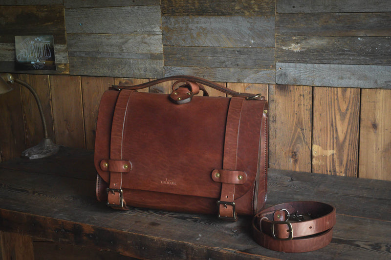 Waylander Satchel, Heavy Duty Leather Messenger Bag Handmade USA Quality Heirloom