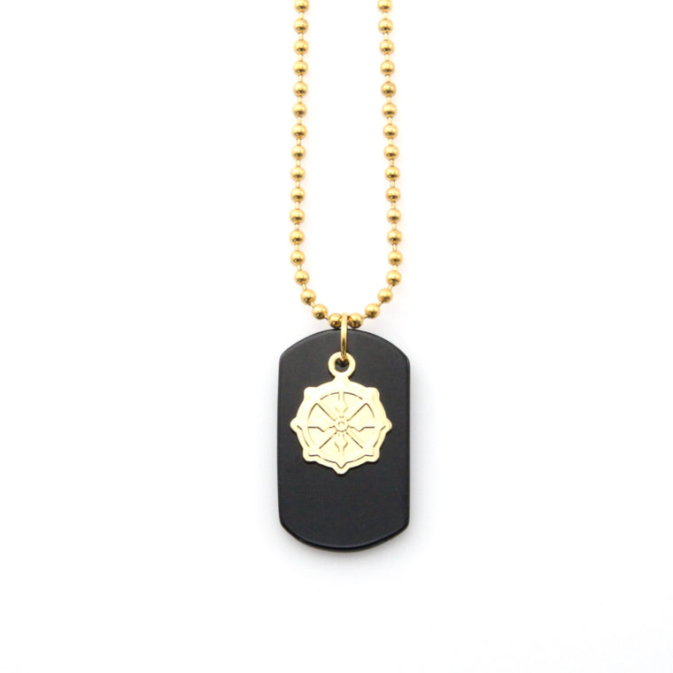 Onyx Dogtag Gold Insignia Necklace