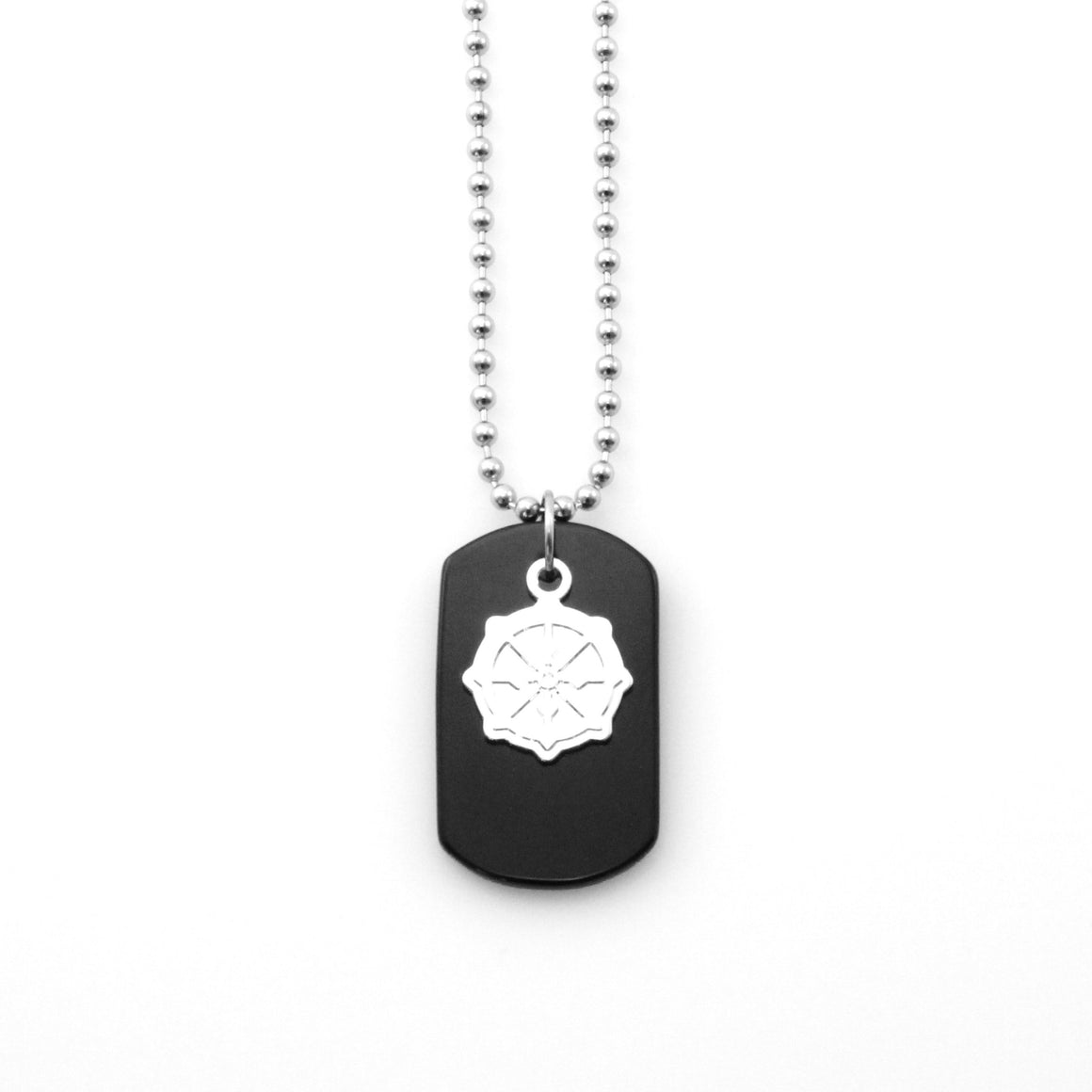 Onyx Dogtag Silver Insignia Necklace