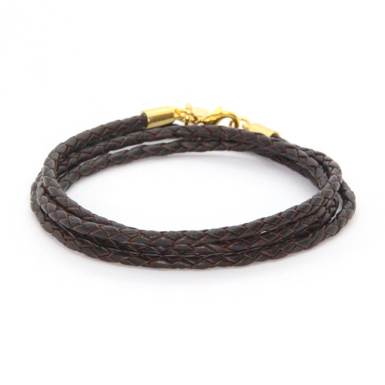 Gold + Braided Coffee Leather Wrap