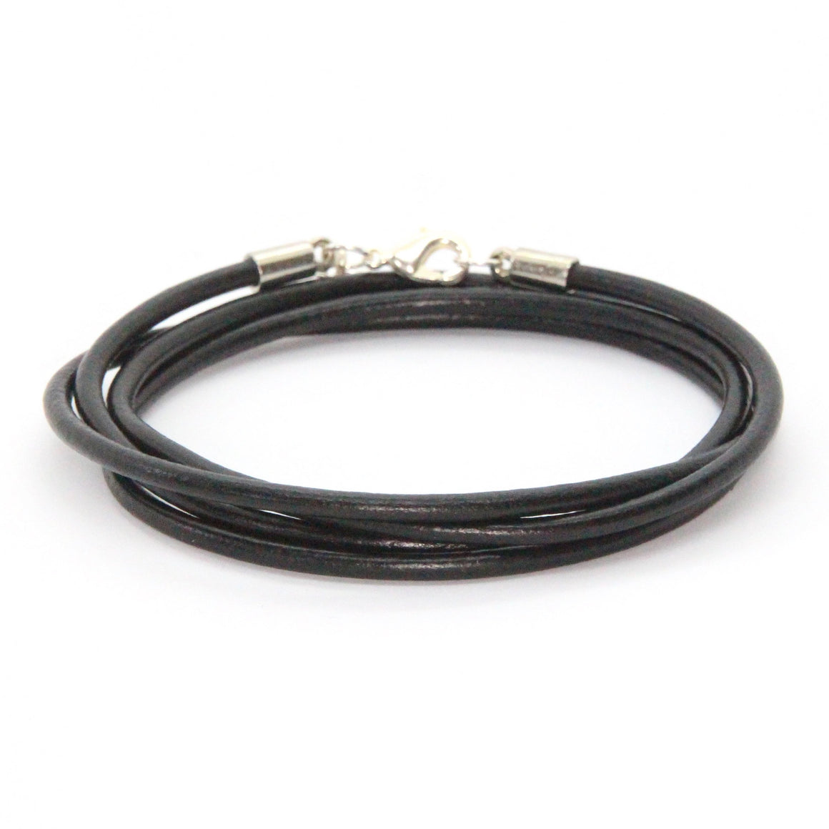 Silver + Jet Leather Wrap