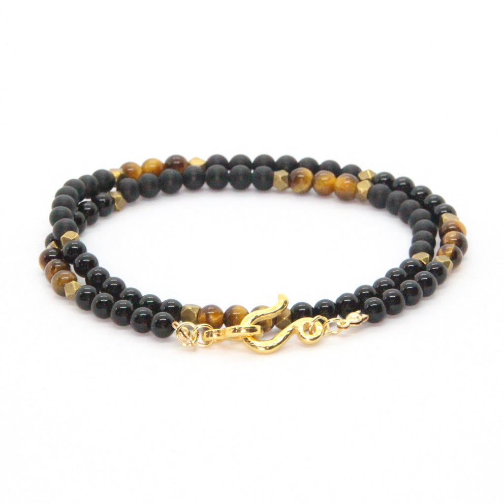 Onyx + Tigereye Beaded Double Wrap