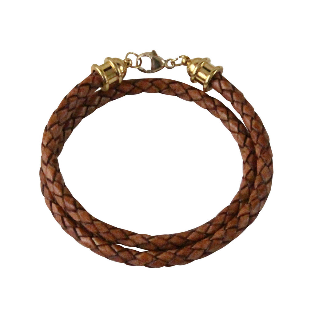 Gold & Camel Leather Double Wrap Bracelet