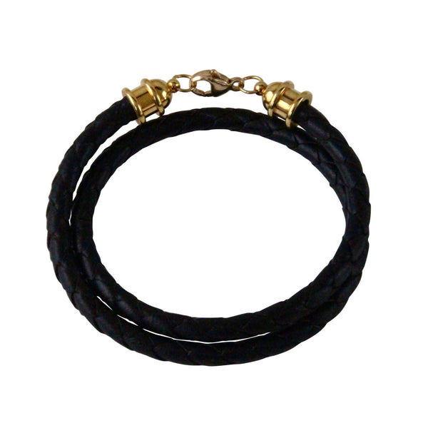 Gold & Black Leather Double Wrap Bracelet