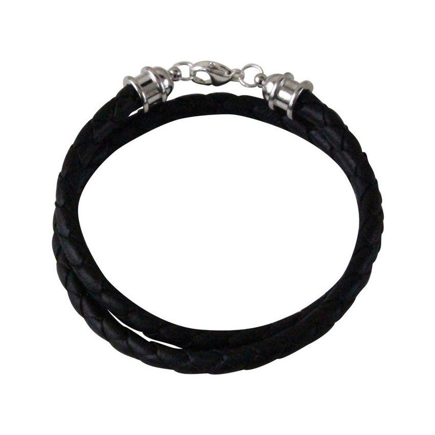 Silver & Black Leather Double Wrap Bracelet