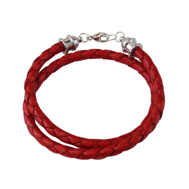 Silver & Red Leather Double Wrap Bracelet