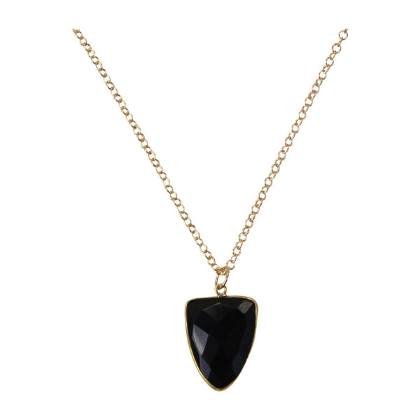 14k Gold & Black Glass Triangle Necklace