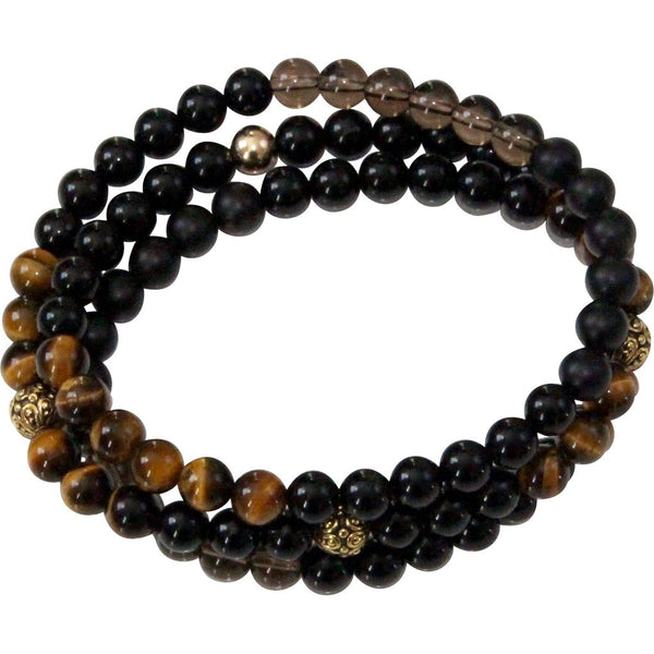 gemstone onyx tigereye triple wrap bracelet