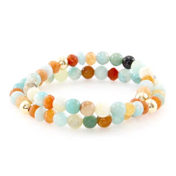 Amazonite/Carnelian Double Wrap Bracelet