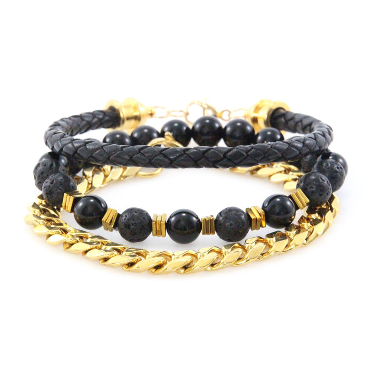 Black Leather & Gold Curb Chain stack