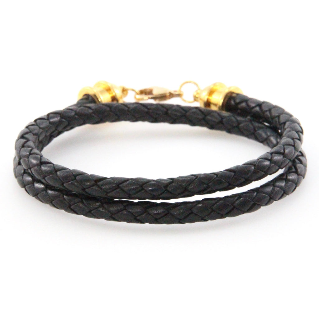 Gold & Black Leather Double Wrap