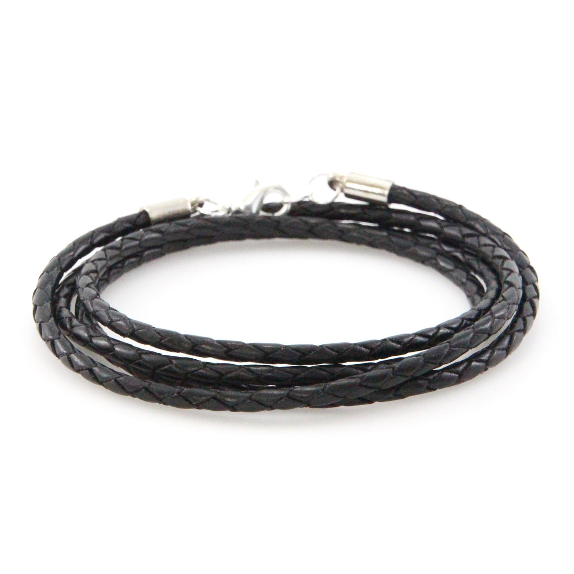 Silver + Braided Black Leather Wrap