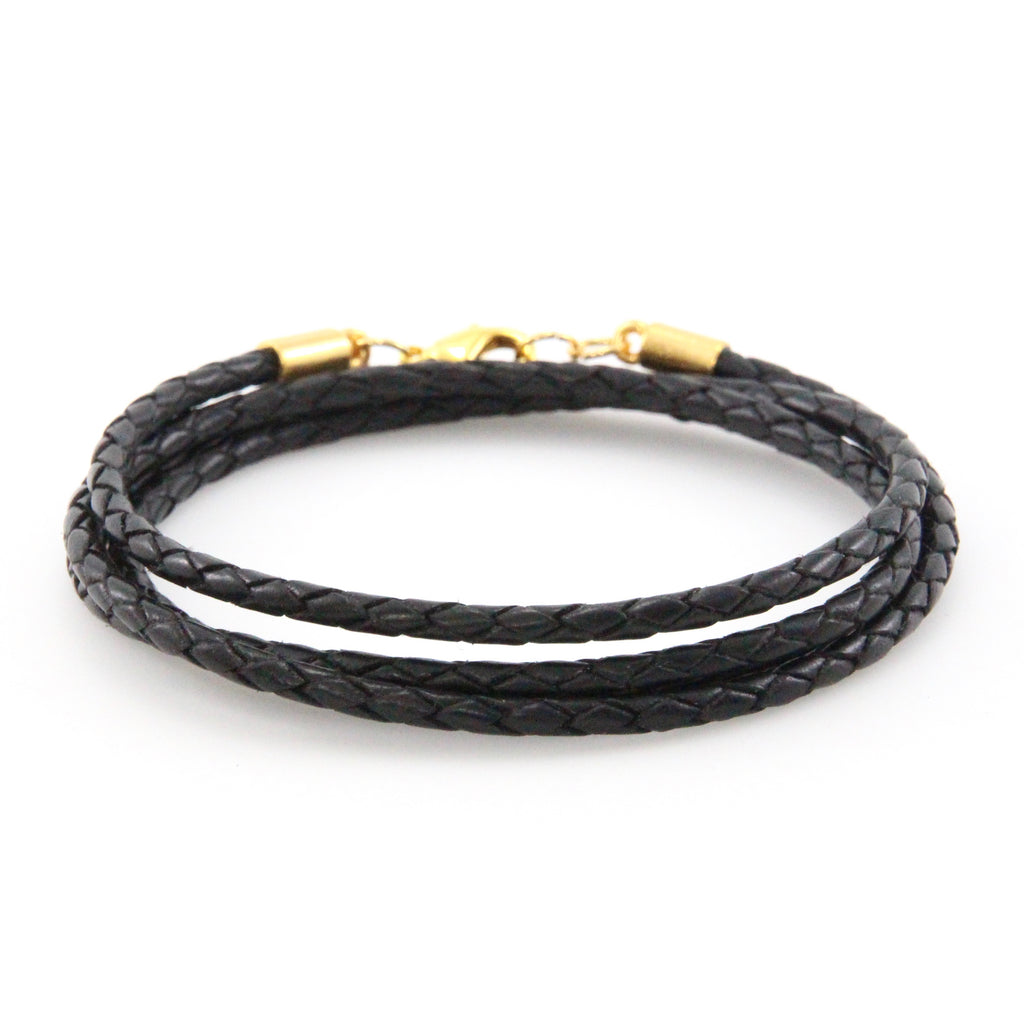 Gold + Braided Black Leather Wrap