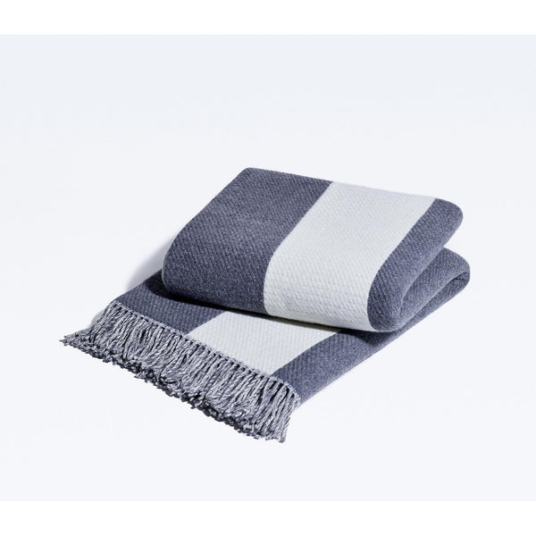 Snowe Striped Cashmere-Wool Blend Throw Blanket