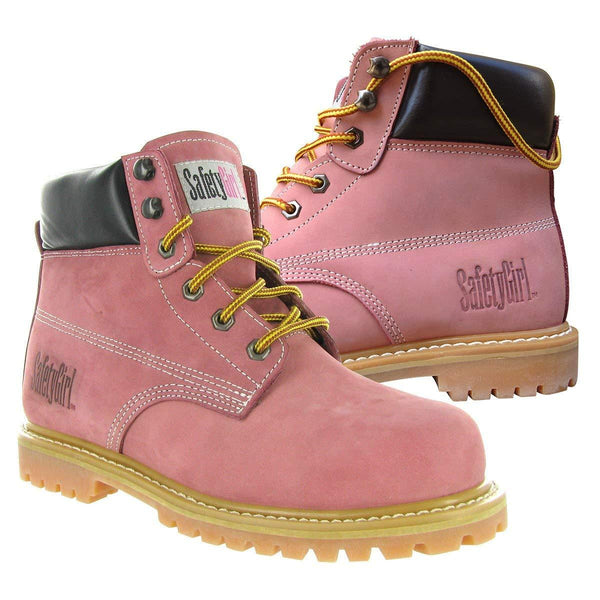 Safety Girl Steel Toe Work Boots (Light Pink)