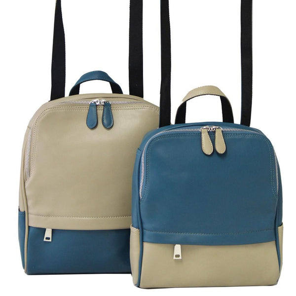Shelly Backpack #308 - Taupe/Blue (2 Bags) by K. Carroll