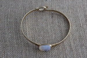 Dainty Stone Gold Bangle Bracelet-Iridescent - My Pink Hanger