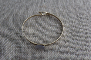 Dainty Stone Gold Bangle Bracelet-Smoke - My Pink Hanger