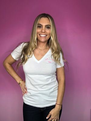 Rescue Reuse Resell White V-Neck Tee - My Pink Hanger