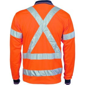 HiVis D/N Cool Breathe Polo Shirt with Cross Back R/Tape - Long Sleeve