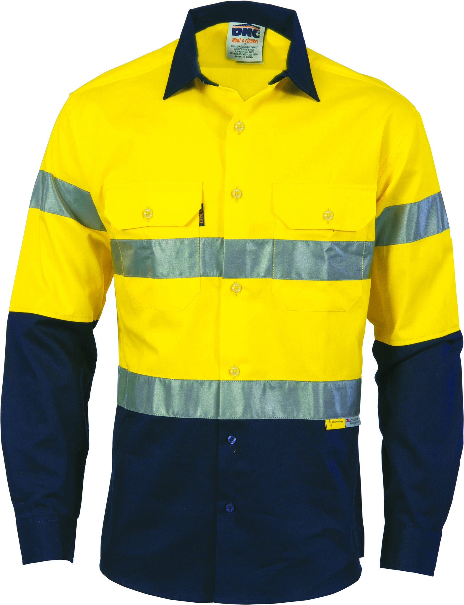 HiVis two tone drill shirts with 3M8906 R/Tape - long sleeve