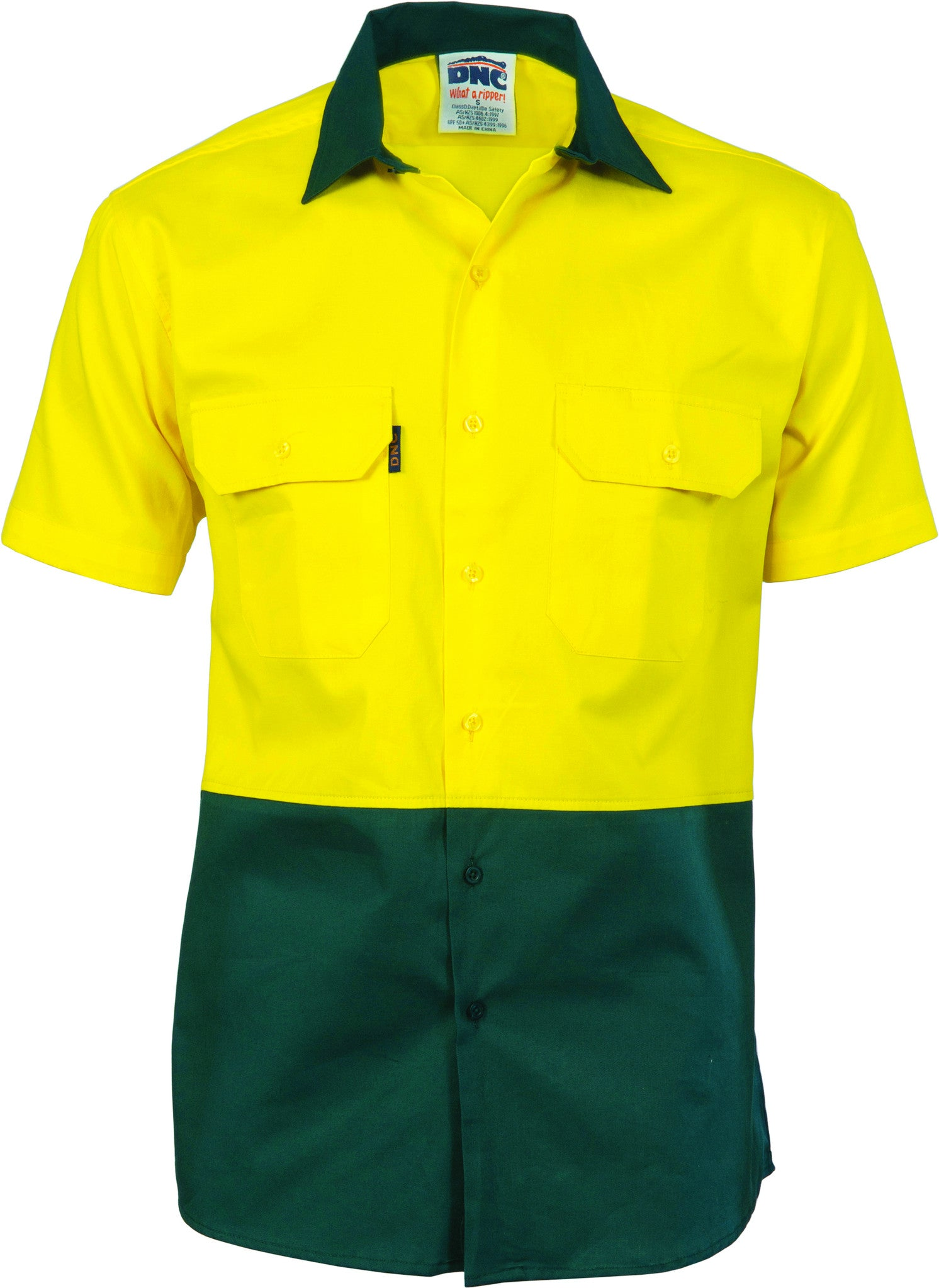 HiVis Two Tone Cotton Drill Shirt - Short Sleeve