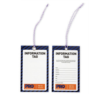 Safety Tags - Information (Blank) Tags  100PKT