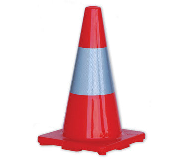 Orange Hi-Vis Traffic Cones With Reflective Band