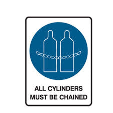 ALL CYLINDERS MUST BE CHAINED - SIgn