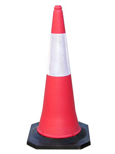 Fluorescent Traffic Cone With Reflective Sleeve - 1000mm