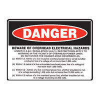BEWARE OF OVERHEAD ELECTRICAL HAZARDS (NSW Only)