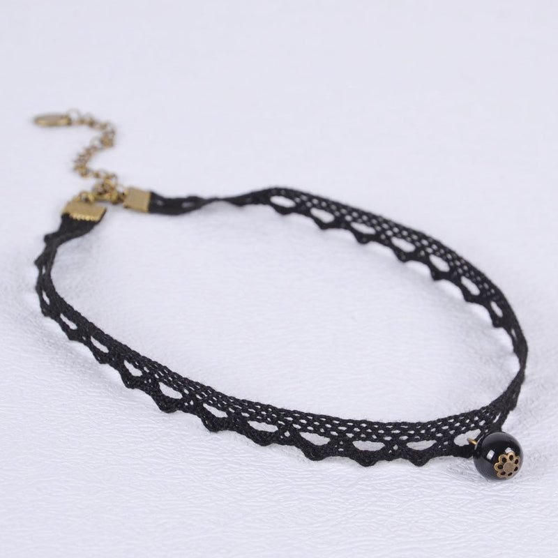 Black Pearl Choker Necklace Jewelery - Korean Fashion
