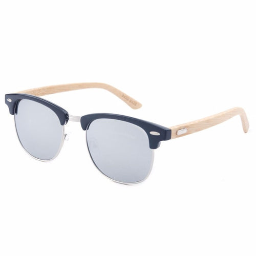 Korean Fashion - Shoes and Clothing - Half-Frame Bamboo Sunglasses - Sunglasses -  - Gangnam Styles - 1
