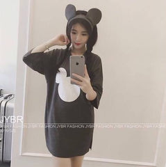 Korean Fashion - Shoes and Clothing - Mickey Mouse Formal Dress - Casual Dress - Free Size / Black - Gangnam Styles - 4