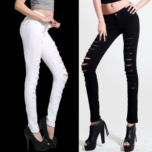 High Waisted Skinny Ripped Jeans Jeans - Korean Fashion