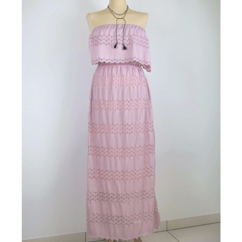 Tube Lace Long Dress Women's Clothing - Korean Fashion