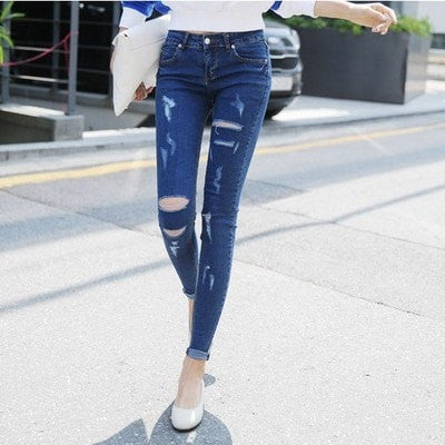 Skinny Shredded Jeans Women's Clothing - Korean Fashion