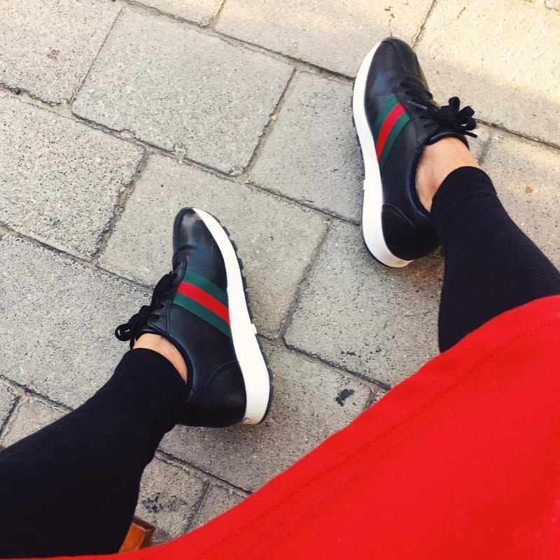Striped Platform Sneakers Sneakers - Korean Fashion