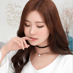 Silver Crystal Choker Necklace Necklace - Korean Fashion