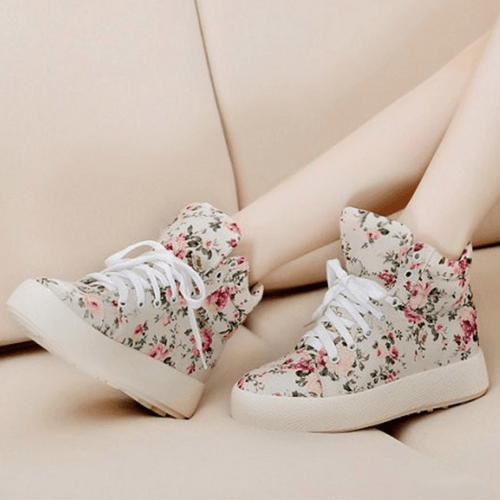 Korean Fashion - Shoes and Clothing - Floral Platform Lace Up Sneakers - Shoes -  - Gangnam Styles - 1