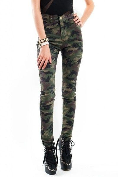 Camouflage High Waisted Jeans Women's Clothing - Korean Fashion