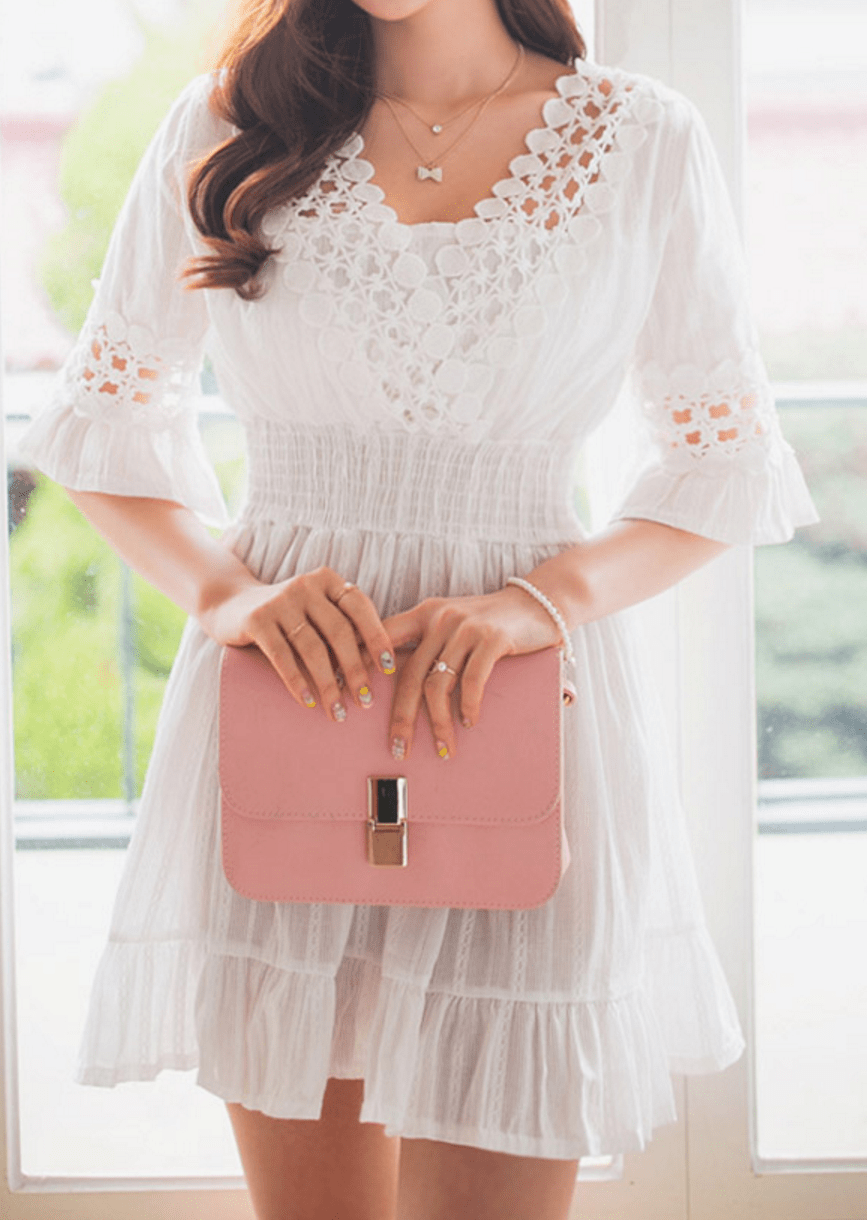 Casual Lace Dress Dress - Korean Fashion