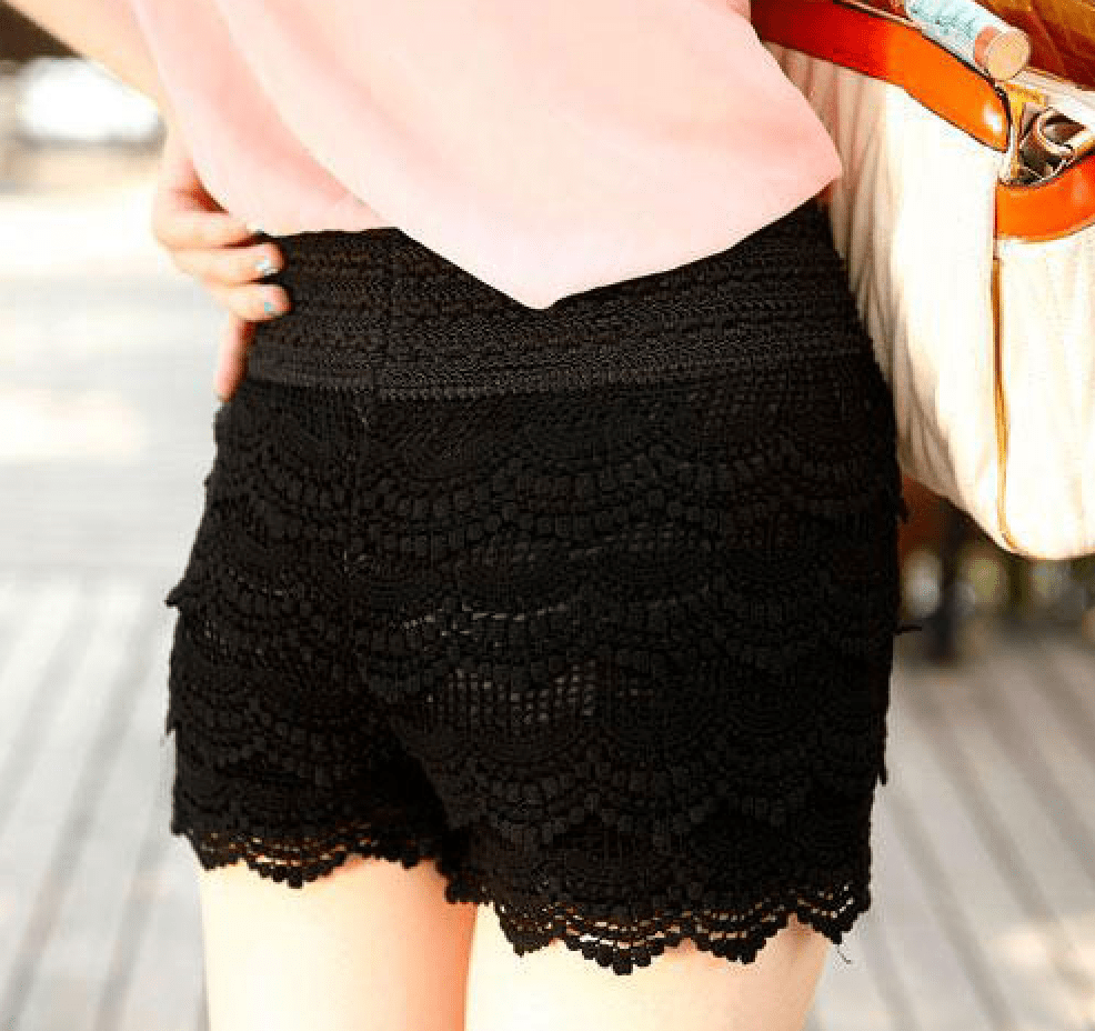Korean Fashion - Shoes and Clothing - Mini Lace Shorts Skirt - Shorts - Free Size / Black - Gangnam Styles - 2